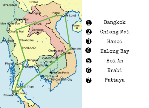 Route Thailand Vietnam