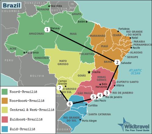 Reisroute Brazilië